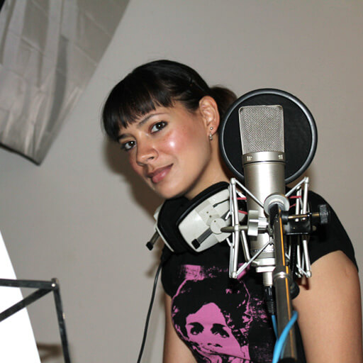 Anna Christina narrating Music Audio Stories in the studio image