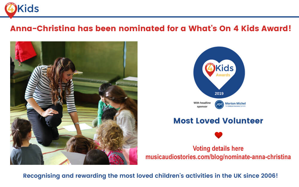 Anna Christina - What's On 4 Kids Awards - Music Audio Stories (Storytime with Anna-Christina) - banner image