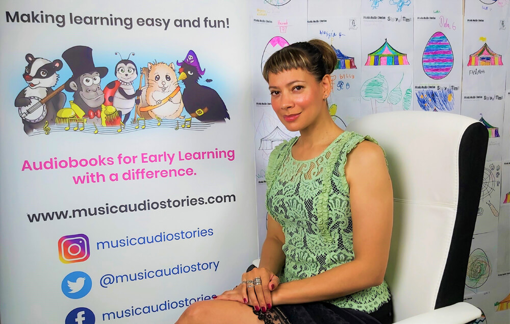 Anna Christina from Music Audio Stories on her YouTube video film set image
